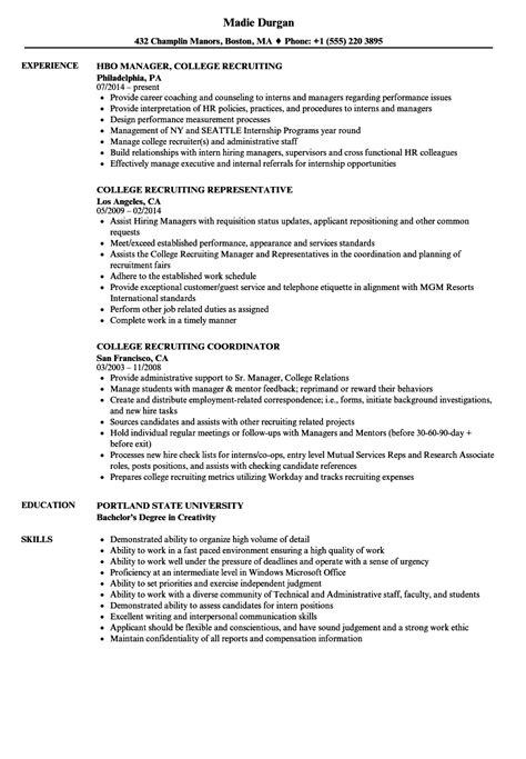 Recruiting Resume by College Recruiting Resume Sles Velvet