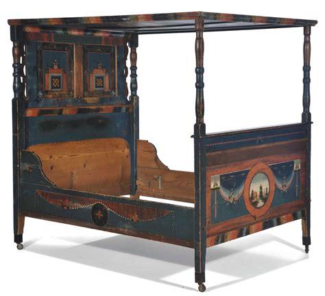 letti antichi in legno letto a baldacchino in legno dipinto arte tirolese