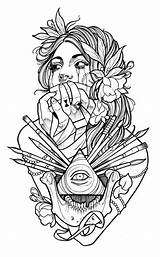 Tattoo Coloring Tattoos Drawings Sketches sketch template