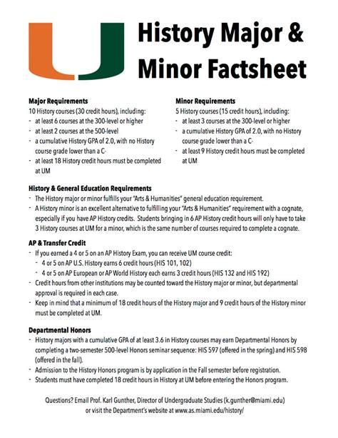 major  minor department  history university  miami