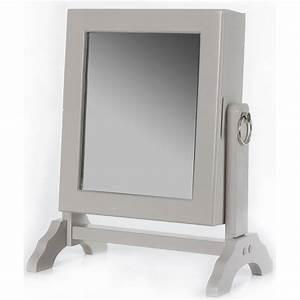 Miroir à Bijoux : armoire bijoux avec miroir inclinable taupe rangement 54 bijoux ac deco ~ Teatrodelosmanantiales.com Idées de Décoration
