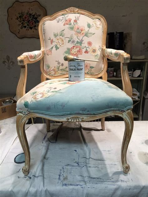 painted chair fabric  frame french style painting