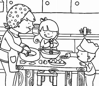 Coloring Cooking Kitchen Pages Mother Mom Drawing