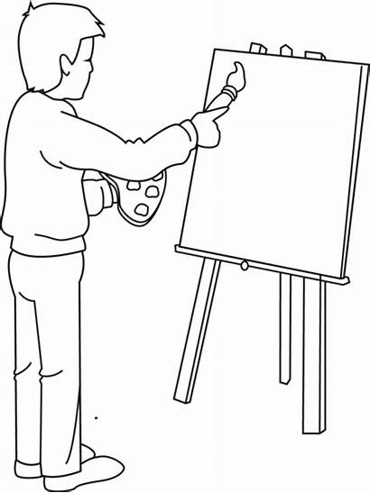 Clip Artist Painter Clipart Coloring Painting Cartoon
