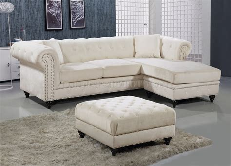 Sectional Sofas With Ottoman by Sabrina Sectional Sofa 667 In Velvet Fabric By Meridian