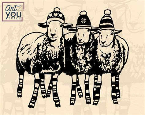 Think you've got your head wrapped around animal farm? Christmas Sheeps svg Cricut, Funny Lamb clipart, Flock of ...