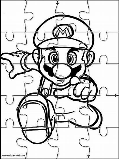 Mario Puzzles Coloring Printable Puzzle Bros Jigsaw