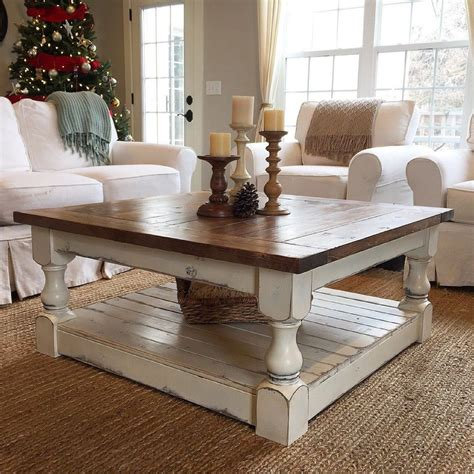 This build features the x coffee table design using 4x4 legs for that chunky farmhouse coffee table look. Chunky Farmhouse Coffee Table Pictures   Coffee table farmhouse, Coffee table, Decor