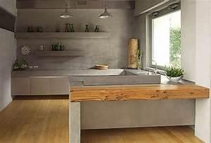 un plan de travail en beton cire du beton dans la maison With cuisine beton cire bois