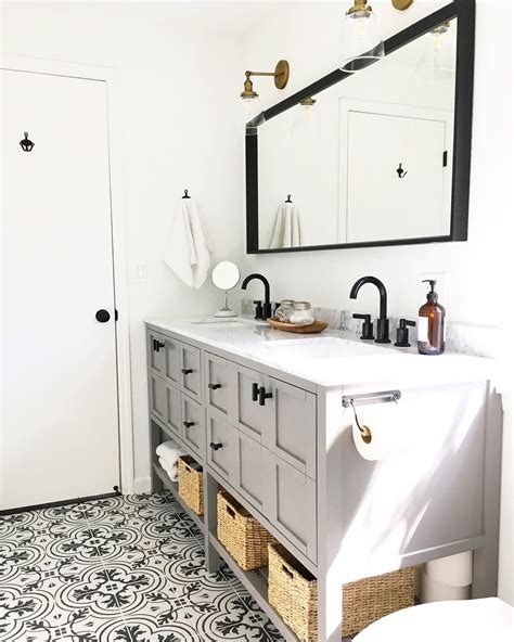 Grey Bathroom Fixtures by Grey Vanity Black Fixtures Patterned Ceramic Tile Floor