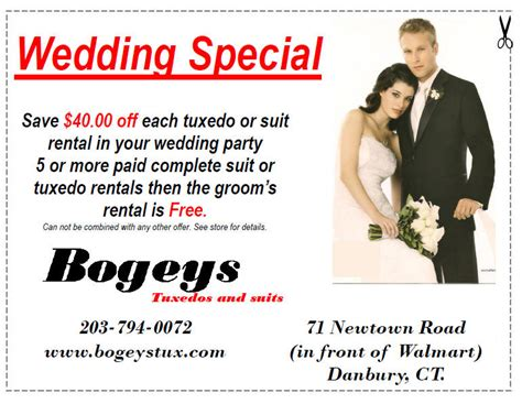76574 Tux Coupon by Bogey S Formal Wear And Tuxedos In Danbury Connecticut