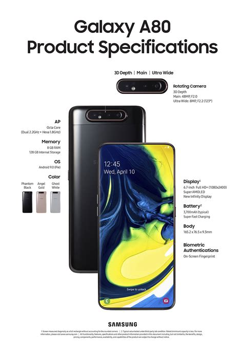 samsung galaxy a80 combines slide and rotate for a notch less display mikeshouts