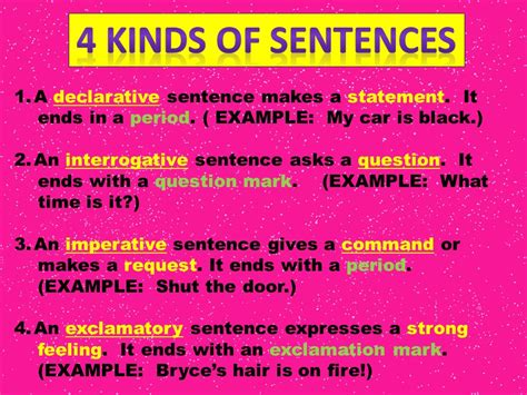 4 Kinds Of Sentences A Declarative Sentence Makes A Statement It  Ppt Video Online Download