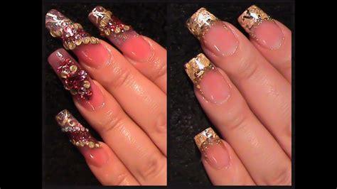 Uñas decoradas para pies de flores. Uñas Acrilicas: Cambio De Diseño- Acrylic Gold Nails - YouTube