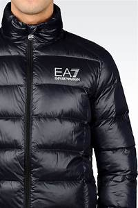 Ea7 Down Coat In Blue For Men