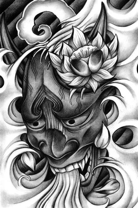 Fantastic black-and-white japanese devil and lotus flower