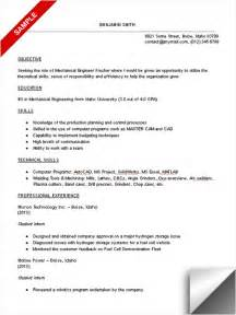 resume writing for engineering students mechanical engineering student resume sle