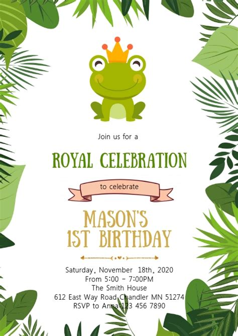 Frog prince birthday party invitation Template PosterMyWall