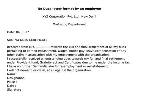due certificate format wisdom jobs india