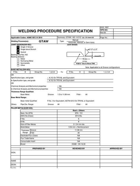 WPS GTAW Stainless Steel | Welding | Mechanical Engineering