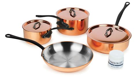 mauviel mheritage  mm copper cookware set  piece cutlery