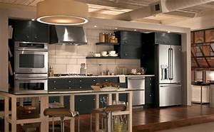 urban industrial kitchen photo ge appliances With kitchen cabinets lowes with native american metal wall art