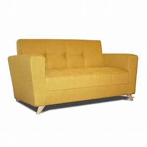 canape 2 places fixe en tissu jaune vicky canape With canapé jaune 2 places