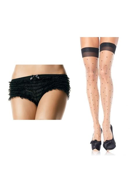 valentines day lace bloomers  thigh high stockings set