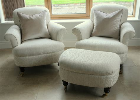2 Laura Ashley Harbrook Armchairs With Footstool For Sale