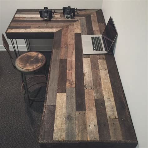 rustic l shaped computer desk rustic l shaped desk made from reclaimed wood by