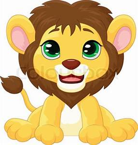 Small ridiculous kind young lion sits and smiles - toy ...