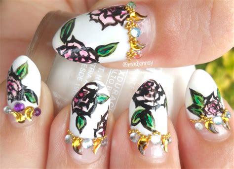 dramatic cartoon roses stiletto nail art nail art