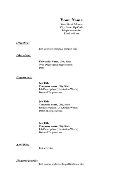 basic resume template   templates   word