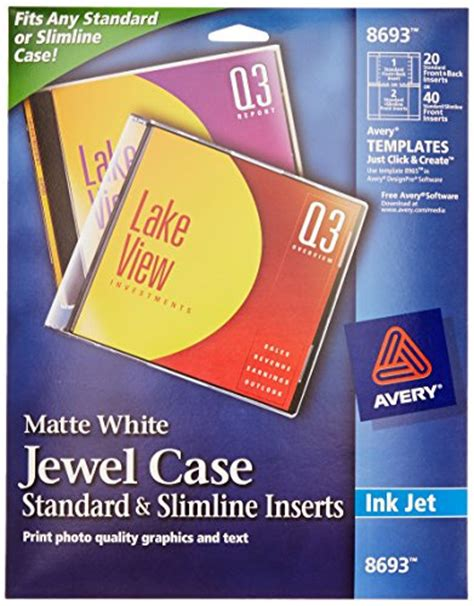 Avery Cddvd Jewel Case Inserts For Ink Jet Printers