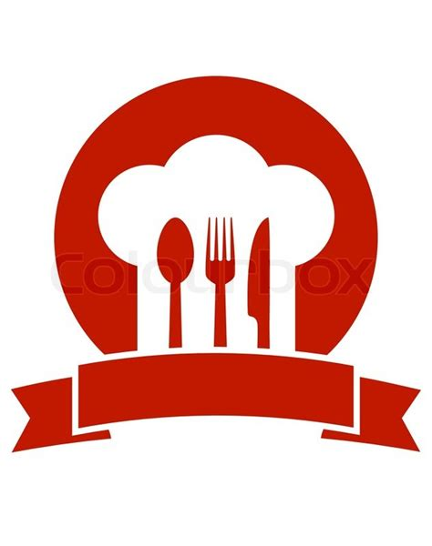 cuisine fast food restaurant icon with ribbon chef hat and utensil