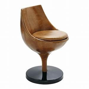 Fauteuil Cuir Marron Vintage : fauteuil vintage cuir marron clair guariche polaris maisons du monde ~ Teatrodelosmanantiales.com Idées de Décoration
