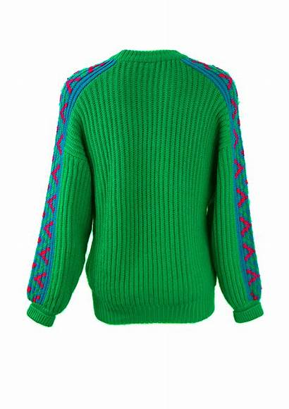 Jumper Wool Patterned Chunky Sleeves Xl Emerald