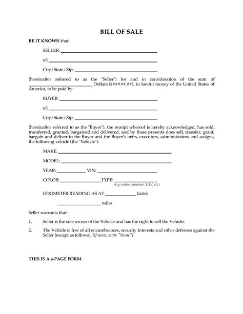 usa vehicle bill  sale form legal forms  business