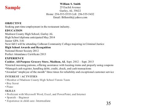 Education On Resume If Only High School by Cover Letter And Resume Writing For High School Students
