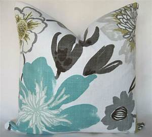 pillow cover throw pillow gorgeous pearl floral aqua With brown and grey accent pillows