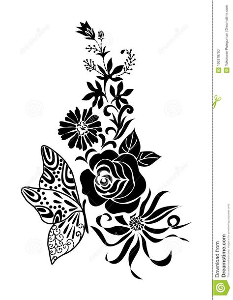 Ramalhete Preto Abstrato Da Flor Com Tatuagem Da Borboleta