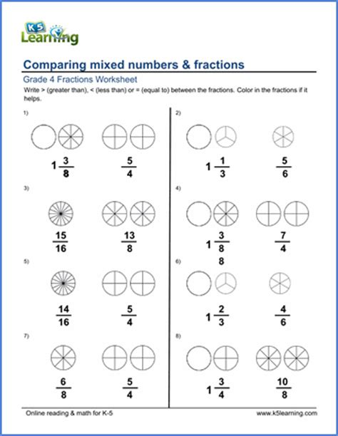 grade 4 math worksheets comparing mixed numbers