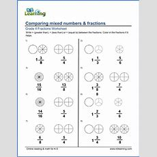 Grade 4 Math Worksheets Comparing Mixed Numbers & Fractions  K5 Learning