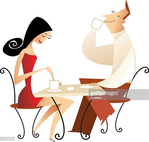 Ilustraciones de Stock y dibujos de Mujer Tomando Cafe