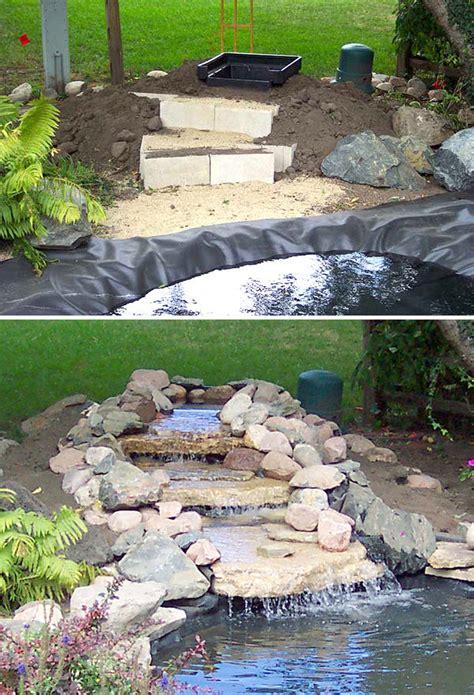 Build Backyard Pond by Diy Garden Waterfalls The Garden Glove