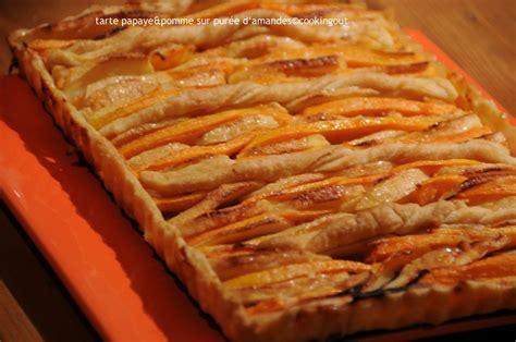 tarte papaye pomme sur un lit de pur 233 e d amande et une p 226 te feuillet 233 e faite au thermomix un