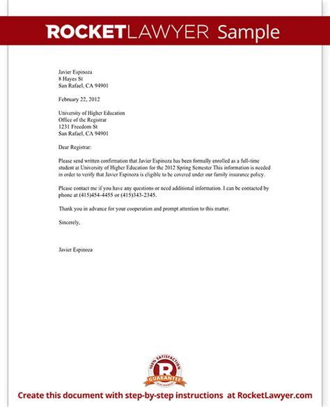 confirmation  enrollment letter  sample