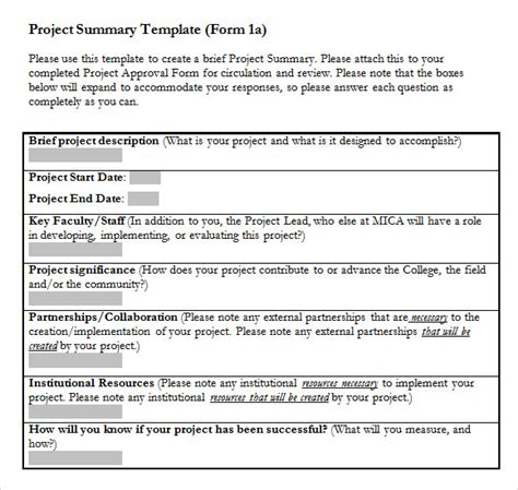 project summary template 9 project summary templates for free sle templates