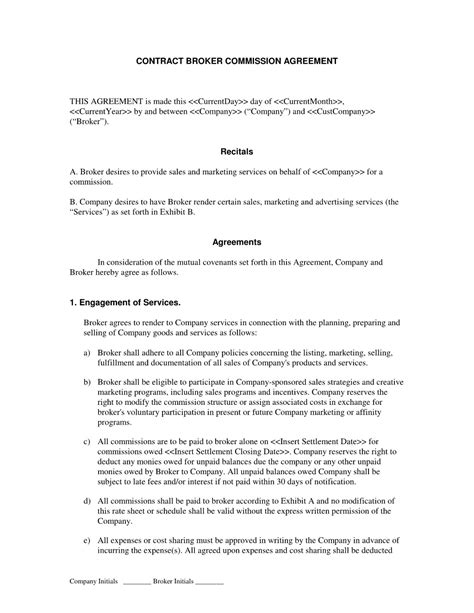 broker commission agreement template templates resume