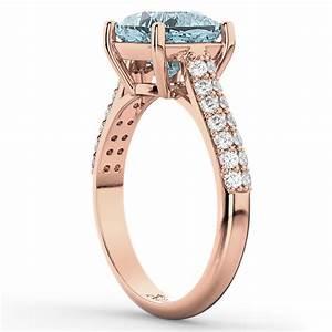 Cushion Cut Aquamarine & Diamond Engagement Ring 18k Rose ...